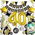 Zerodeco 40° Compleanno Festa Decorazioni, Nero Oro Striscione di Happy Birthday Numero 40 Foil Palloncini Stelle Palloncini Lattice Ballon Turbinii Appesi Bandierine Triangolare Feste di 40° Anni