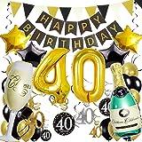 Zerodeco 40° Compleanno Festa Decorazioni, Nero Oro Striscione di Happy Birthday Numero 40 Foil Palloncini Stelle Palloncini