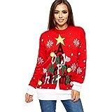 WearAll – Vestito lungo da donna, lavorato a maglia, con albero di Natale, taglie 40/42-60/62