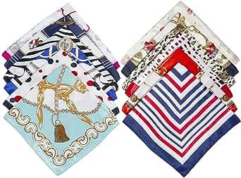 Comius Sharp 12 Pack Sciarpa in Raso Donna Foulard Quadrato Sciarpa di Seta Piccolo Sciarpa Quadrato Raso Fazzoletto (50 x 50cm)