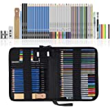 Lypumso Lapices de Dibujo Artístico, Set de Lápices Colores Profesional Bosquejo Carbón Grafito Sticks, Estuche Lápices de Co
