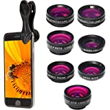 PIXART PRO Handy Objektiv-Kit – Set aus 7 Linsen - Objektive und Filter für die Smartphone-Kamera für iPhone X / 8 Plus / 8/7 Plus / 7/6 / iPad/Samsung Galaxy s6/s7/s8 & Smartphones & Laptops