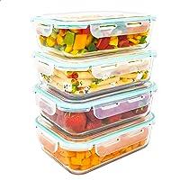 LG Luxury & Grace Lot de 4 Boîtes Alimentaires en Verre 1500 ML. Récipient Hermétique. Boîtes de Conservation pour Micro…