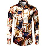 PARKLEES Men's Casual Luxury Printed Silk Like Satin Button Down Dress Shirt for Party Wedding