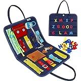 Esjay Busy Board pour Enfants, Jeux Montessori pour Apprendre La Motricité Fine, Tableau Sensoriel Éducatif avec des Boucles,