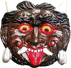 ADA Handicraft Metal Nazar Battu Wall Hanging Face Mask Evil Eye Protector/ Nazar Suraksha Kawach (Black & Brown, 6-inch)
