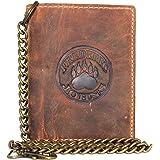 Frédéric&Johns ® - Portafoglio da uomo in vera pelle di vacchetta, con catena in metallo, porta carte e porta monete, alta qu