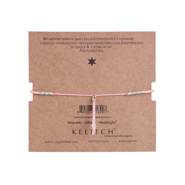 KELITCH Bohemian Armband Rocailles Perlen Handmade Mehrfarbig Zart Schnur Freundschaftsarmbänder - Hell Rosa