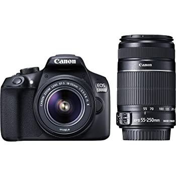 Canon EOS 1300D 18MP Digital SLR Camera (Black) with 18-55 and 55-250mm is II Lens, 16GB Card and Carry Case