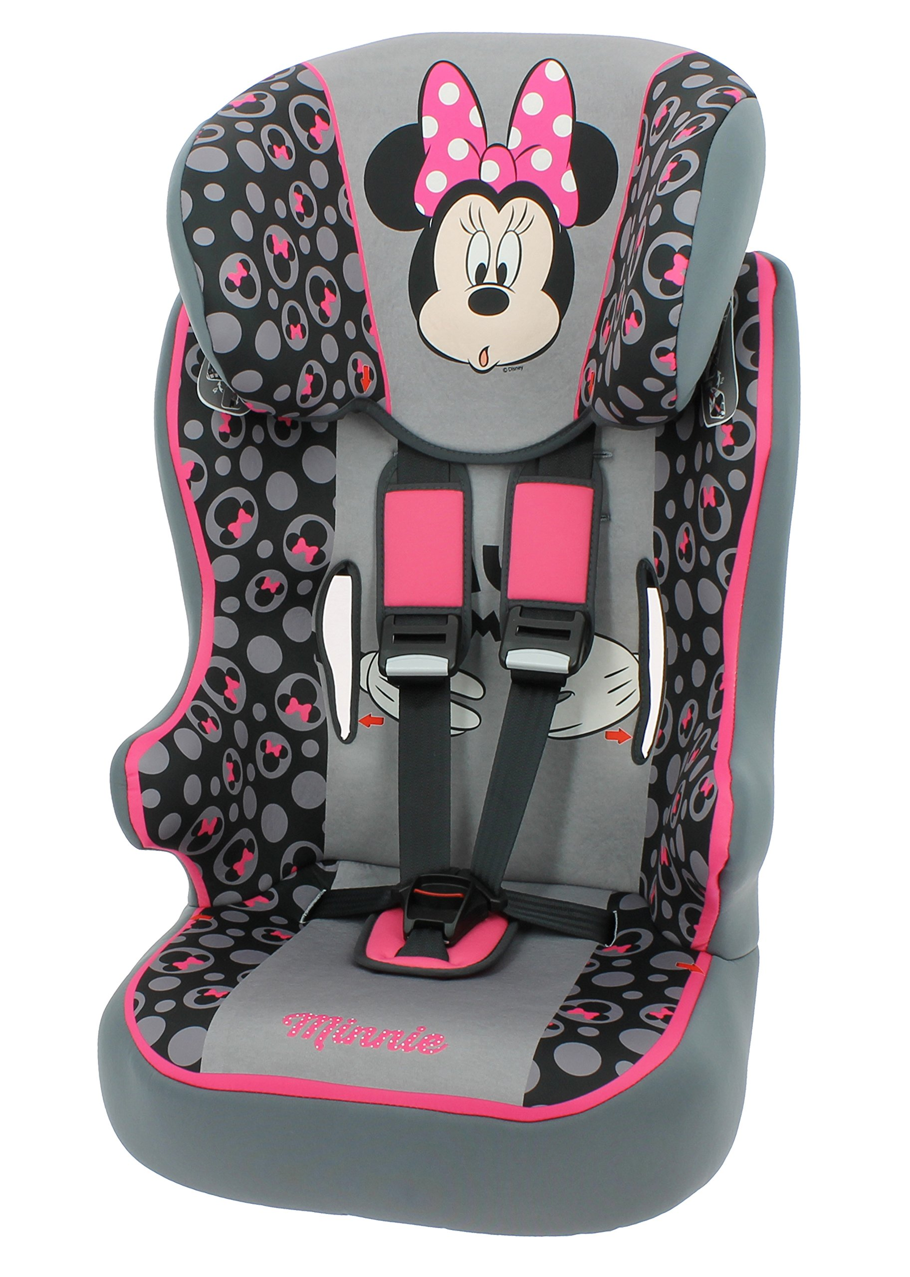 Racer Car Seat for Kids, Group 1/2/3 (9 to 36 kg), Disney Minnie  Lightweight, portable and secured car seat Side impact protection Individual harness tensioners 1