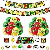Super Mario Party Supplies Super Mario Globos Super Mario Cumpleaños Pancartas Decoración para Fiestas Adorno de Torta para N