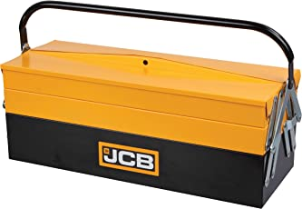 JCB Tools 5 Tray Cantilever Tool Box, Steel Construction with Lockable Latches and Heavy Duty Carry Handle, 541x213x221 mm, 22025008