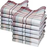 "Merrysquare - Traditionnal Men's Handkerchiefs - Hamilton Model - Large Size 16"" square - 12 units - 100% cotton"