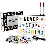 A4 Lightbox med 400 Bokstäver, Symboler & Emojis, 2 Markörer & USB - BONNYCO   Ljuslåda LED Vintage Hem Dekoration, Bröllop &