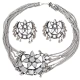 Total Fashion Oxidised German Silver and Choker Necklace Set for Women & Girls