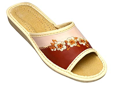 2e16dda80b7ea2 Hausschuhe Leder Damen Pantolette mit Gummisohle Latschen aus Leder Farbe   Rot-Beige Modell DI32  Amazon.de  Schuhe   Handtaschen