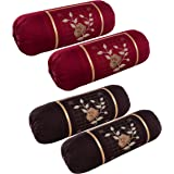 Rj Products™ Cotton Bolster Cover with Beautiful Rose Embroidery Set of 4 Piece - Maroon & Coffee Color