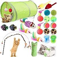 GeeRic 23 Stück Katzenspielzeug Set mit katzentunnel Bälle,Federspielzeug,Plüschspielzeug,Spielzeugmäuse,katzenspielzeug…