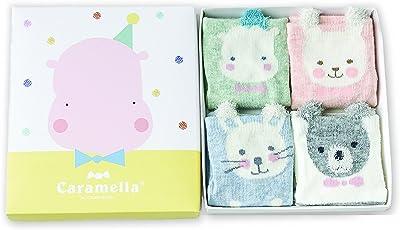 BEBE Socks Girl's and Boy's Cotton Caramella's Cute Cartoon Design Socks - 4 Pair Combo