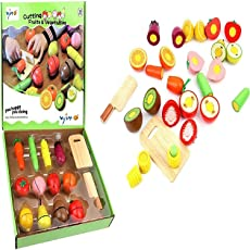 Babytintin Wooden Realistic Velcro Slice-able Vegetables & Fruits Cutting Play Set Toy with Chopping Board and Knife (12 Piece)