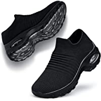 lavibelle Ladies Walking Shoes Mesh Slip on Air Cushion Wedge Platform Loafers