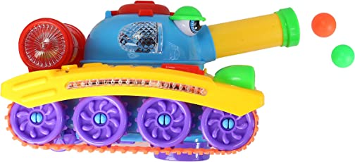 Planet of Toys 360 Degree Wheel Rotation Action Army Tank Shoots Ball with Lights and Music