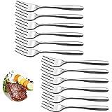 Velaze Lot de 12 Fourchettes à Déssert en Acier Inoxydable 18/10, Couverts à Salade de Table Résistants, Poli Miroir de 14 cm