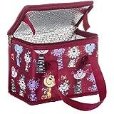 TEAMOOK Sac Repas Lunch Bag Sac à Déjeuner Sac Fraîcheur Portable Isotherme Rouge Chat 22cm X 16cm X 12cm