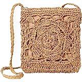 JOSEKO Stroh Crossbody Tasche, Damen Umhängetasche Sommer Strand Vintage Handarbeit Einkaufstasche Woven Handtasche Frauen St