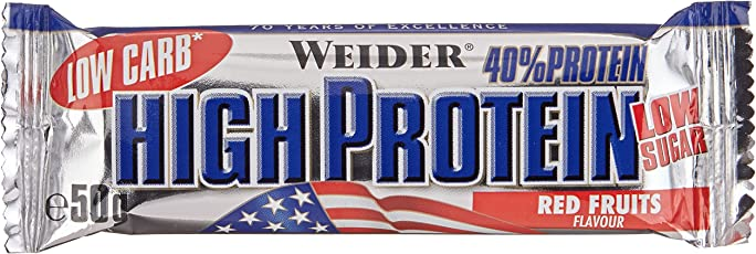 Weider Low Carb High Protein Bar, Rote Früchte, 24 x 50 g (1 x 1.25 kg)