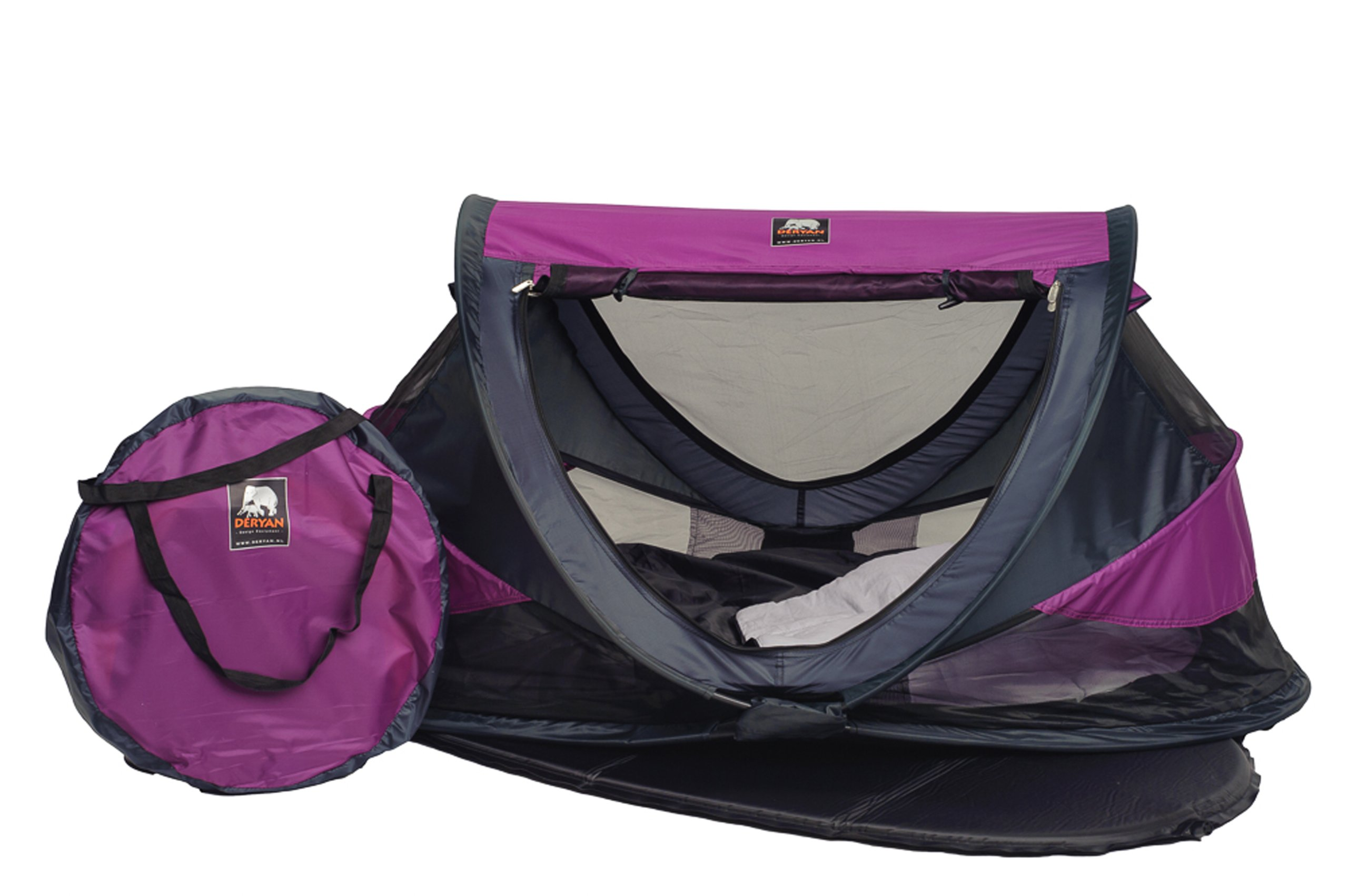 Travel Cot Peuter Luxe (Purple) Deryan 50% UV Protection and flame retardant fabric Setup in 2 seconds and a anti-musquito net  2
