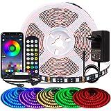 BIHRTC 5050 SMD Juego de tiras LED Kit Tira de luz Impermeable IP65 Flexible en PCB negro con 44 teclas Control remoto Enchuf