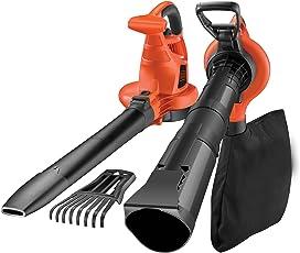 Black+Decker Laubsauger und Bläser GW3050 mit Häcksler und Laubrechen – 50l Fangsack – 3000W – Extrem stark mit variabler Blasgeschwindigkeit – Rückenschonende Benutzung