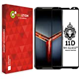 CELLUTION 11D Tempered Glass with Curved Edges and 9H Hardness Full Glue Edge to Edge Screen Protection for Asus ROG Phone 2 / Asus ROG 2 - Black