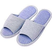 Hawiton Pantofole da Donna in Lino,Antiscivolo Cotone Scarpe in Aperte Leggera Slippers con Memory Foam,Ciabatte da casa…