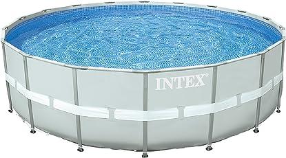 Intex 28332 Ultra Rondo II Frame Pool Set, Sandfilteranlage 6.056l/h, Leiter, Abdeckplane, Bodenschutzplane, 549 x 132 cm