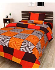 AEROHAVEN 180 TC Microfibre Single 3D Luxury Bedsheet with 1 Pillow Cover (Geometric, Orange)