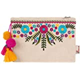 Aakrutii Eco Friendly Embroidered Cotton Zipper Pouch for Women (Natural Beige)