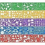 HQdeal 20 stks Tekening Sjablonen Set voor Kids Plastic Schilderen Templates Kit Meer dan 250 Verschillende Pattens Wasbaar S