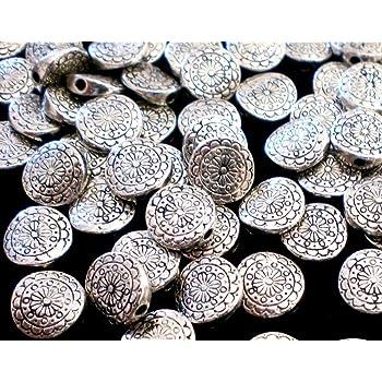 40 Spacer 10mm MÜNZE Metallperlen rund Farbe antiksilber #S155