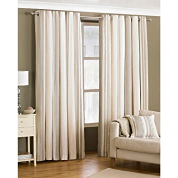 Broadway Raspberry and Cream Striped Eyelet Curtains 90 x 90 Inch ...