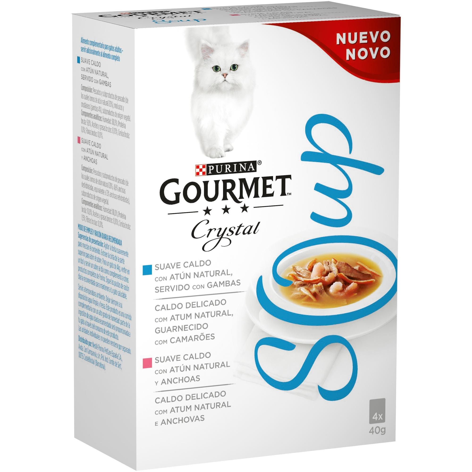 Purina Gourmet Crystal Soup comida para gatos con Atun Natural y Gambas 10 x [4 x 40 g]
