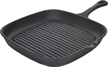 Crisol Cast Iron Pre-seasoned Non-stick Grill Pan, 10 inch