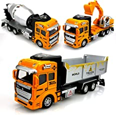 Parteet Die Cast Pull Back Metal Trucks Toy Set of 3 for Your Kids