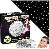 STAGHT - Kit de véritables étoiles et lune 3D phosphorescentes adhésives, 220 pièces fluorescentes pour décoration murale lum