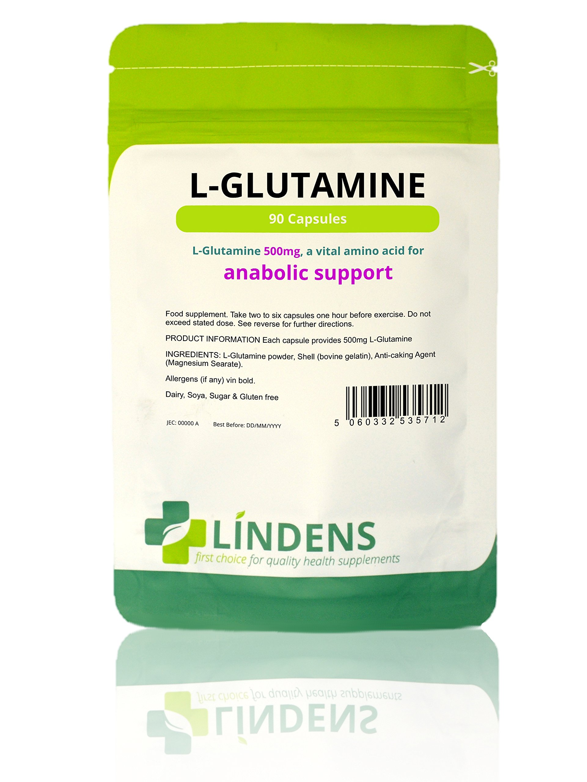 Lindens L-Glutamine 500mg Capsules – 90 Pack – Easy to Swallow, Rapid Release Capsule and Convenient Amino Acid Source…