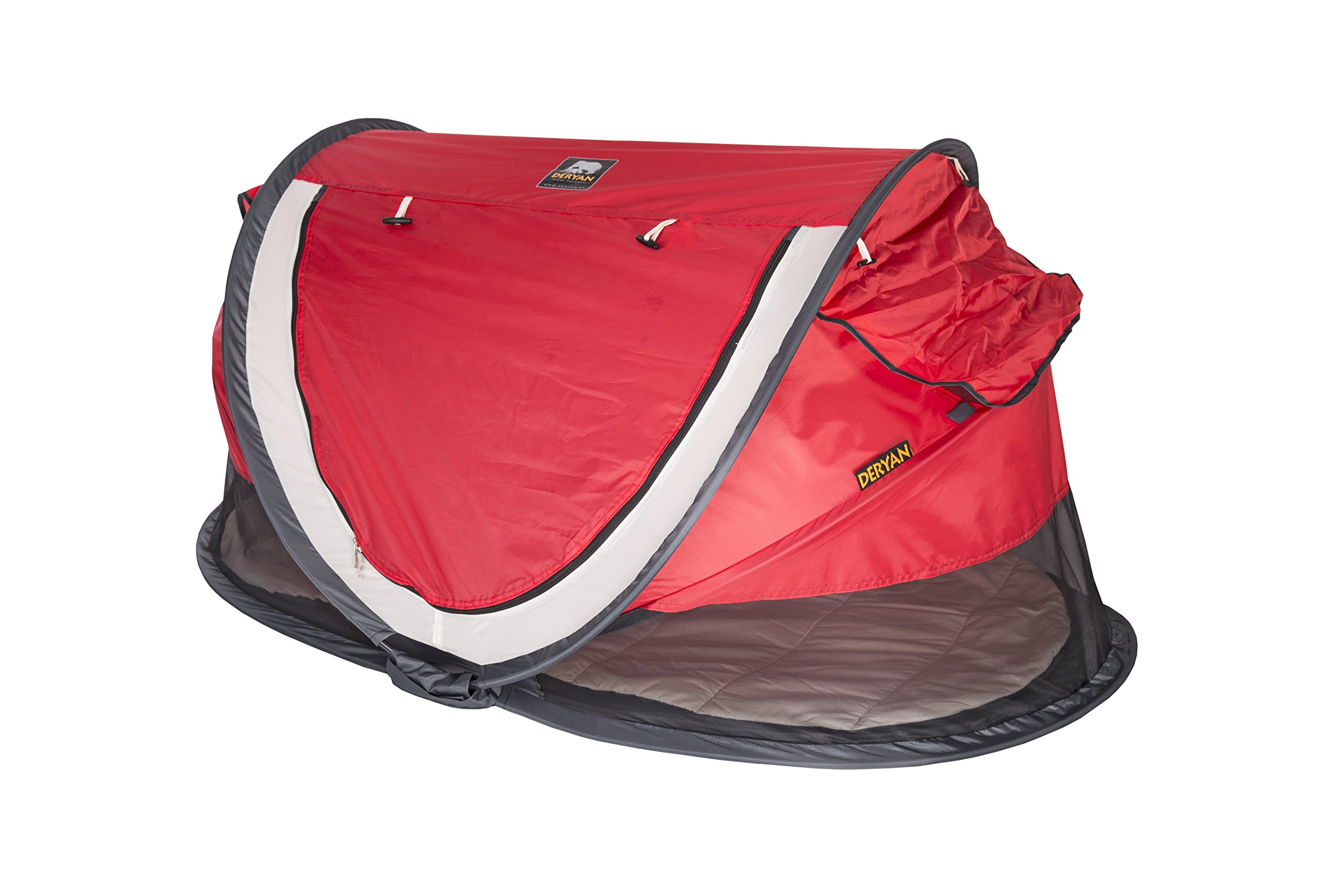 Travel Cot Peuter Luxe (Red) Deryan Perfect for the beach, the park or the back garden for playing in or for naps Can Pops up immediately, no poles or fiddly frames to put together. Lightweight and compact in its zip up bag 2