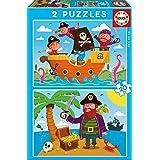Educa- Piratas 2 Puzzles de 20 Piezas, Multicolor (17149)