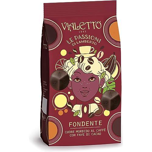 VIALETTO le Passioni di Lamberto | Praline Cioccolato Fondente Cuore al Caffè con Fave di Cacao | Confezione da 150 g