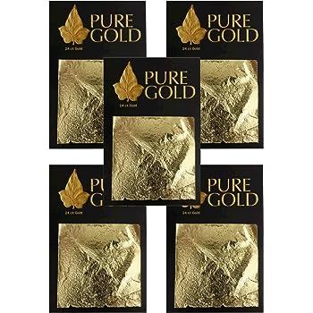 24CT Gold leaf Gilding - 50 Gold sheets, 4.5cm x 4.5cm 5 packs of 10